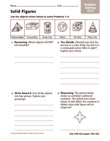 Solid Figures: Problem Solving Worksheet
