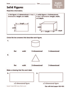 Solid Figures: English Learners Worksheet