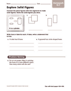 Explore Solid Figures: Homework Worksheet
