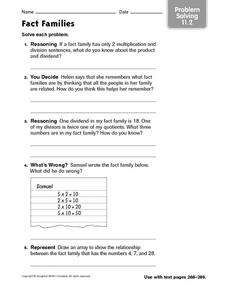 Fact Families Problem Solving 11.2 Worksheet