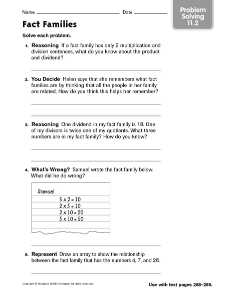 Fact Families Problem Solving 11 2 Worksheet For 3rd 4th