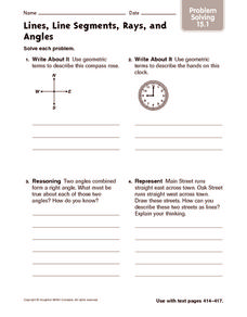 Lines, Line Segments, Rays, and Angles: Problem Solving Worksheet