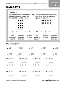 Divide by 3 Reteach 11.3 Worksheet