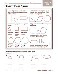 Classify Plane Figures: Reteach Worksheet