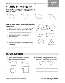 Classify Plane Figures - Practice 15.2 Worksheet
