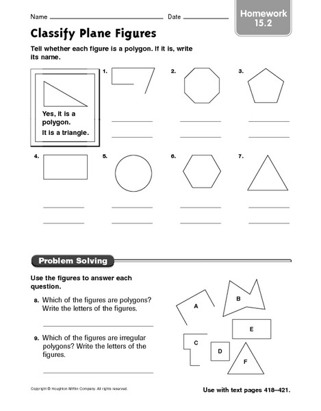 Classifying Plane Figures Lesson Plans Worksheets