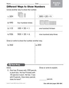 Different Ways to Show Numbers - Practice 20.5 Worksheet