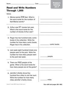 Read and Write Numbers Through 1.000 Problem Solving 20.4 Worksheet