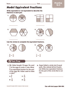 Model Equivalent Fractions: Practice Worksheet