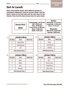 Out to Lunch: Enrichment Worksheet