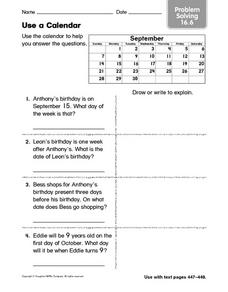 Use a Calendar: Problem Solving 16.6 Worksheet
