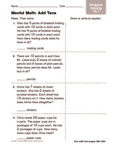 Mental Math: Add Tens: Problem Solving Worksheet
