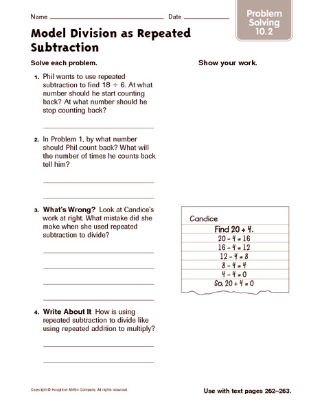 model division as repeated subtraction problem solving worksheet for 4th 5th grade lesson. Black Bedroom Furniture Sets. Home Design Ideas