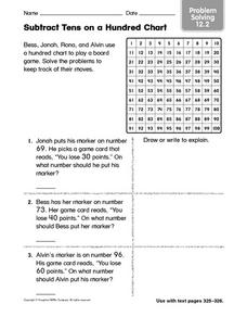 Subtract Tens on a Hundred Chart Problem Solving 12.2 Worksheet