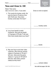 Tens and Ones to 100: Problem Solving Worksheet