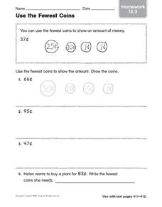 Use the Fewest Coins: Homework Worksheet