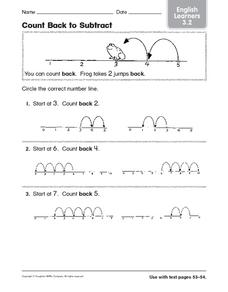 Count Back to Subtract: English Learners Worksheet
