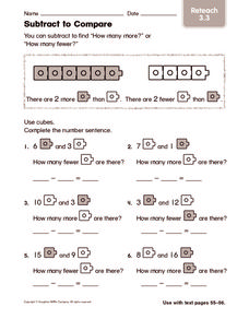 Subtract to Compare: Reteach Worksheet