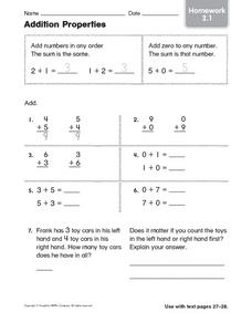 Addition Properties Homework 2.1 Worksheet