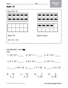 Add 10  Reteach 2.4 Worksheet