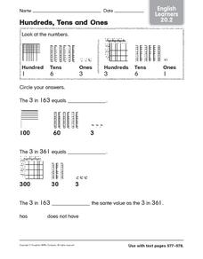 Hundreds, Tens, and Ones: English Learners Worksheet