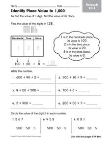 identify place value to 1 000 reteach worksheet for 3rd. Black Bedroom Furniture Sets. Home Design Ideas