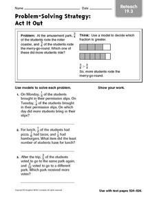 Problem-Solving Strategy: Act It Out Reteach 19.3 Worksheet
