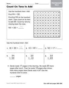 Count on Tens to Add: Homework Worksheet