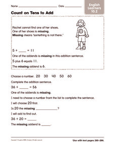 Count on Tens to Add: English Learners Worksheet