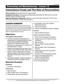 Convenience Foods and The Role of Preservatives Lesson Plan