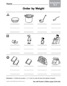 Order by Weight: Enrichment Worksheet