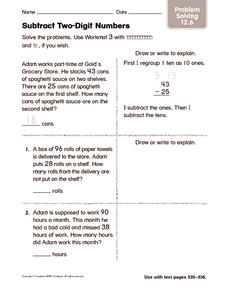 Subtract Two-Digit Numbers: Problem Solving Worksheet