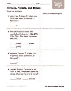 Pennies, Nickels, and Dimes: Problem Solving Worksheet