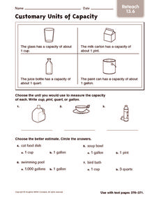 Customary Units of Capacity: Reteach Worksheet