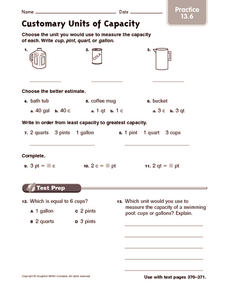 Customary Units of Capacity: Practice Worksheet
