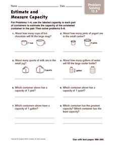 Estimate and Measure Capacity: Problem Solving Worksheet
