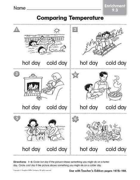 comparing temperature enrichment 9 3 worksheet for 1st 3rd grade lesson planet. Black Bedroom Furniture Sets. Home Design Ideas