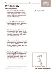 Divide Money: Problem Solving Worksheet
