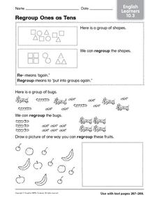 Regroup Ones as Tens: English Learners Worksheet