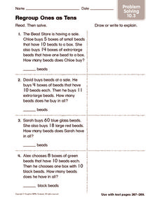 Regroup Ones as Tens: Problem Solving Worksheet