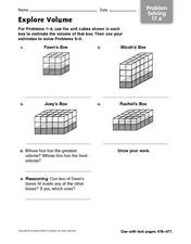 Explore Volume - Problem Solving 17.6 Worksheet