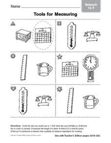 tools for measuring reteach worksheet