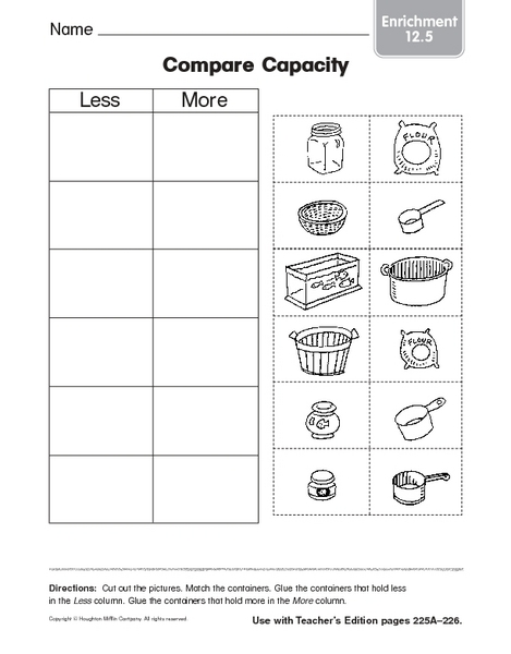 compare capacity enrichment 12 5 worksheet for kindergarten 2nd grade lesson planet. Black Bedroom Furniture Sets. Home Design Ideas