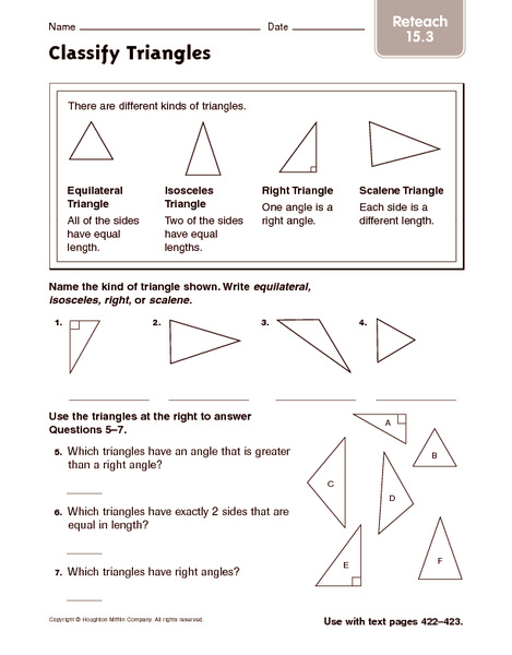 Classify Triangles Reteach Worksheet For 4th 5th Grade Lesson