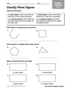 Classify Plane Figures: English Learners Worksheet