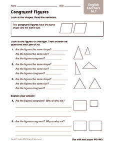 Congruent Figures: English Learners Worksheet