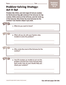 Problem-Solving Strategy: Act it Out: Problem Solving Worksheet