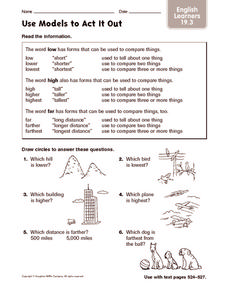 Use Models to Act It Out: English Learners Worksheet