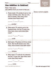 Use Addition to Subtract: Problem Solving Worksheet