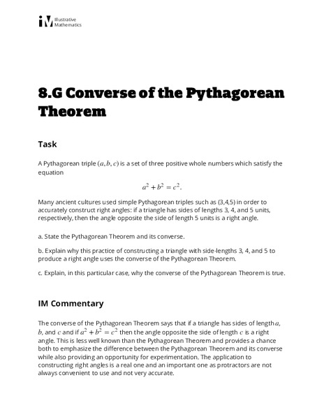 Converse of the Pythagorean Theorem Activities & Project